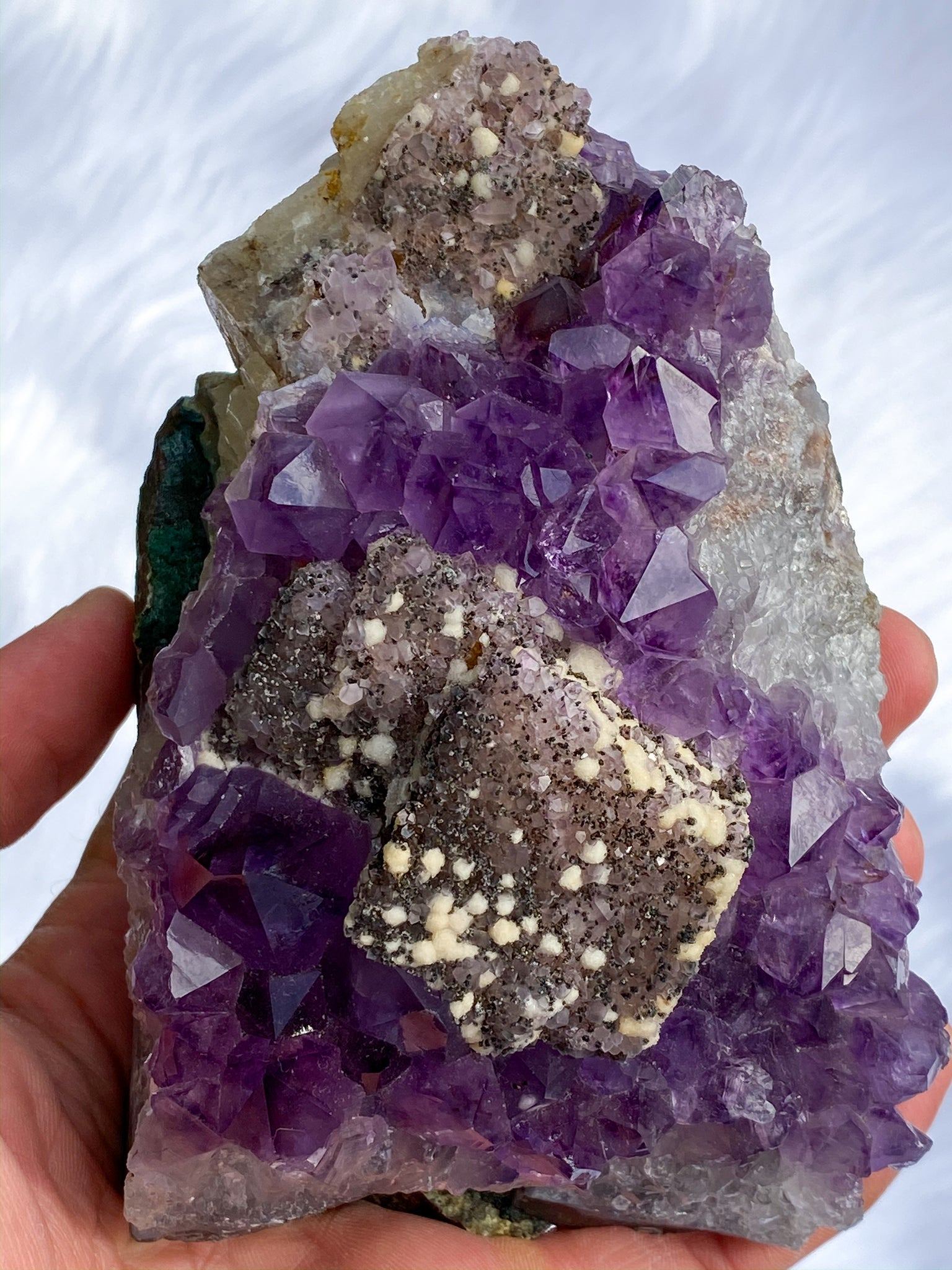 Amethyst Clusters with Druzy Inclusions and Calcite Cube 1063g