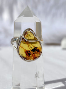 Amber Stealing Silver Tear Drop Ring Adjustable Size
