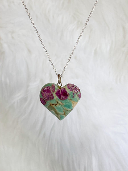 Crystal Ruby Fuschite Heart Pendant