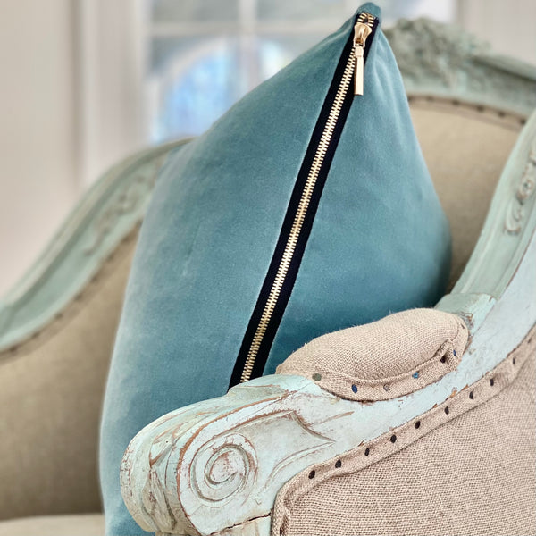 """Amalfi Blue"" Velvet Square Pillow"
