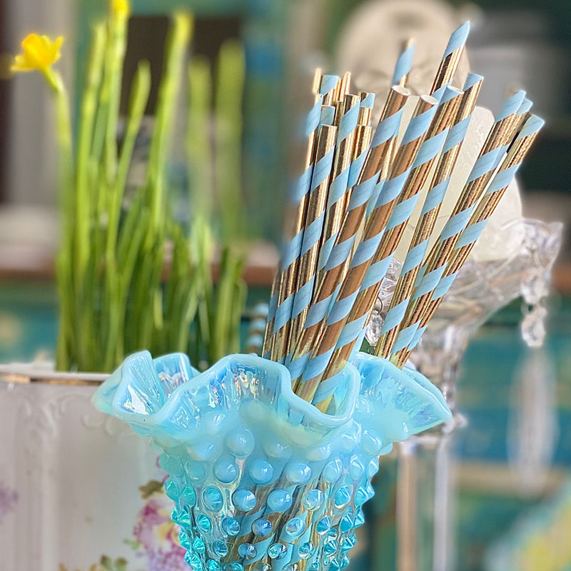 Blue and Gold Paper Straws