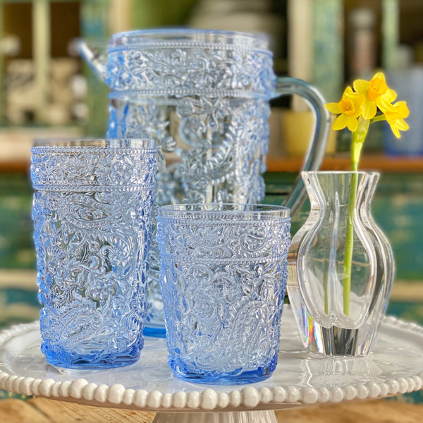 NEW! Delphinium Blue Acrylic Highball Glasses Set of 4