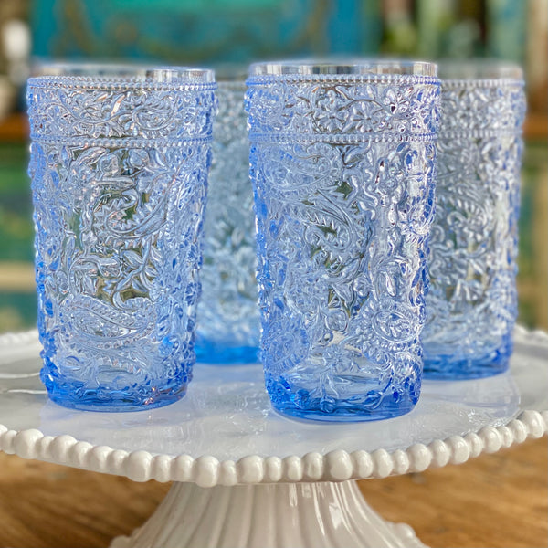 Delphinium Blue Acrylic Highball Glasses Set of 4