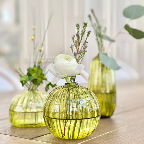 Artisan Bud Vases in Bottle Green