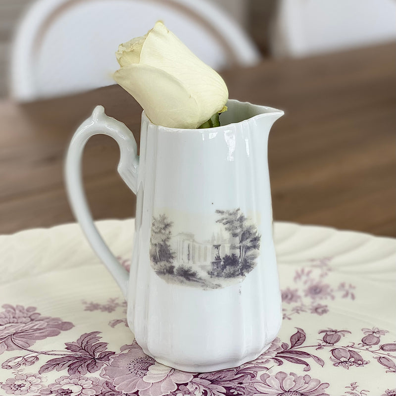 White Pitcher with Landscape Imagery