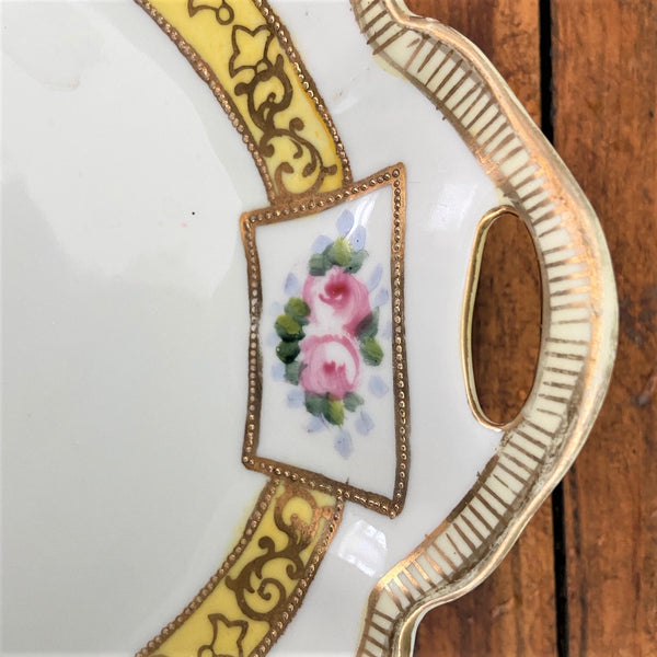 Elegant Floral Shallow Bowl with Yellow Band