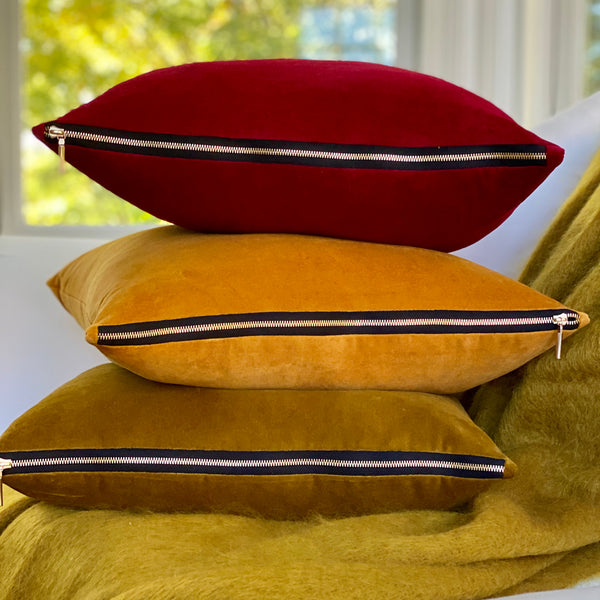 """Tapestry Honey Gold"" Velvet Square Pillow"