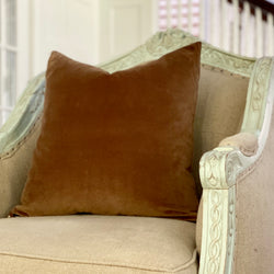 """Saddle Brown"" Velvet Square Pillow"