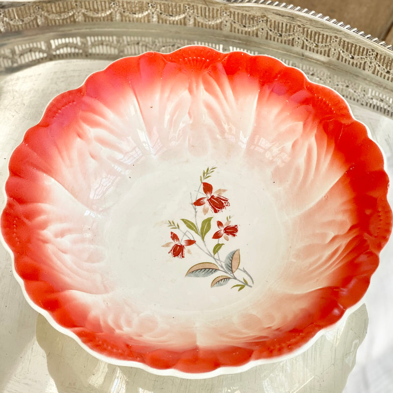 "Vintage ""Orange Crush"" Aviary and Floral Bowls"