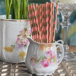 Pink and Gold Paper Straws