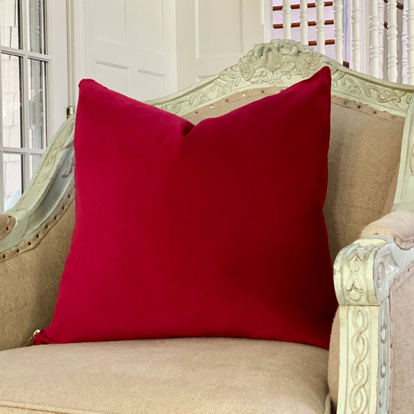 """Ruby Red"" Velvet Square Pillow"