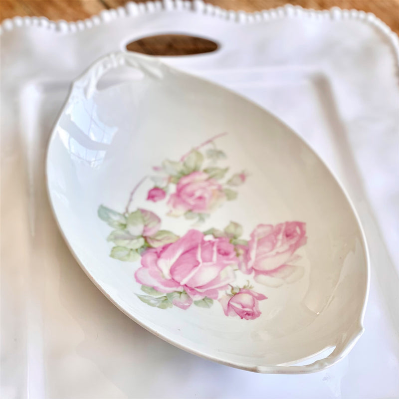 Vintage Oval Handled Rose Serving Bowl