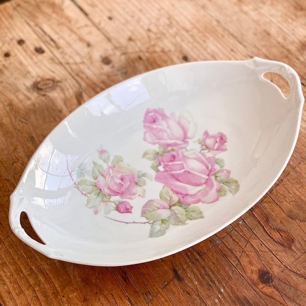 Oval Handled Rose Serving Bowl