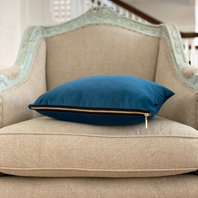 """Blue Danube"" Velvet Lumbar Pillow"