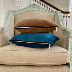 """Saddle Brown"" Velvet Lumbar Pillow"