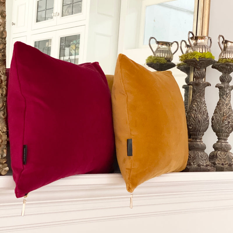 """Tapestry Honey Gold"" Velvet Lumbar Pillow"