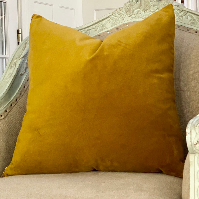 """Tassel Antique Gold"" Velvet Square Pillow"