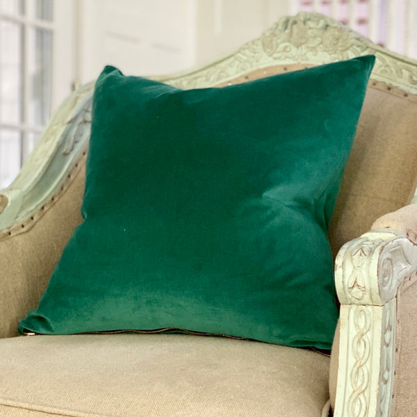 """Churchill"" Teal Green Velvet Pillow"