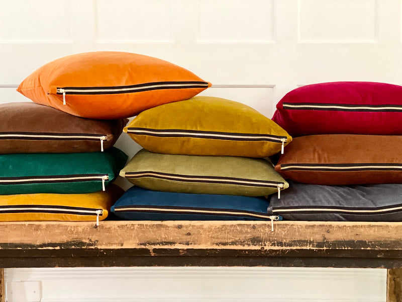 """Cognac Brown"" Velvet Square Pillow"