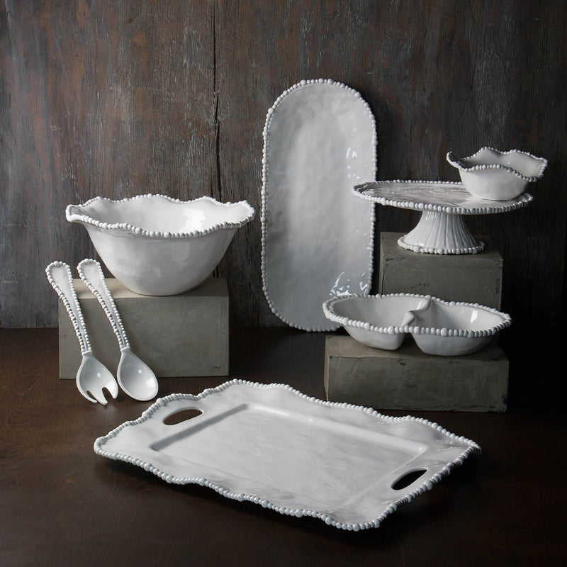 Pretty, heavy weight white melamine serving pieces featuring elegant pearl edge, from the Alegria Collection by Beatriz Ball.