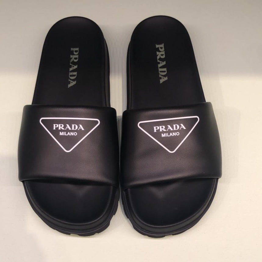 Prada black leather slides