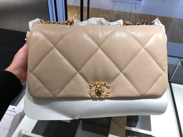 Chanel 19 maxi beige bag