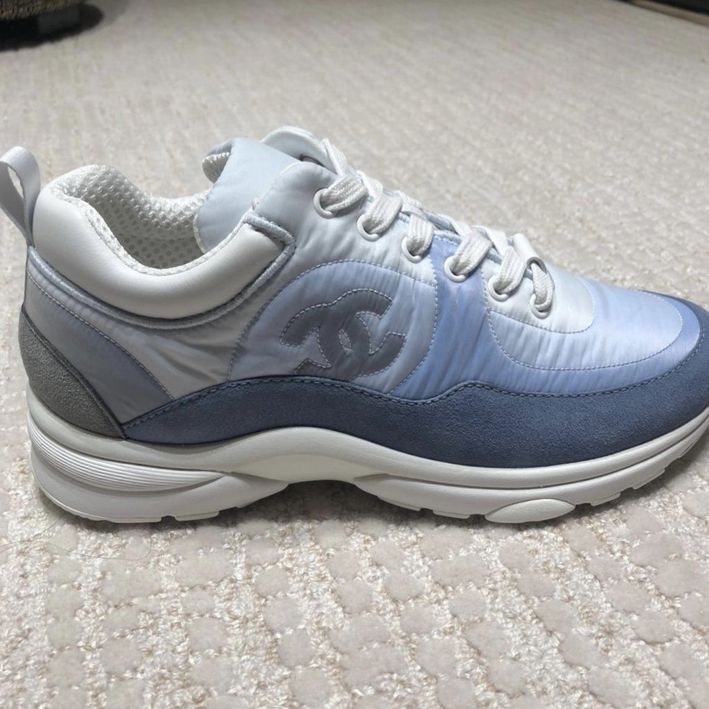 CHANEL blue suede & nylon sneakers Cruise 2021