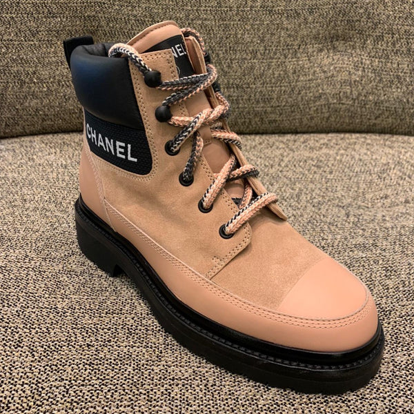 CHANEL winter beige lace-up boots