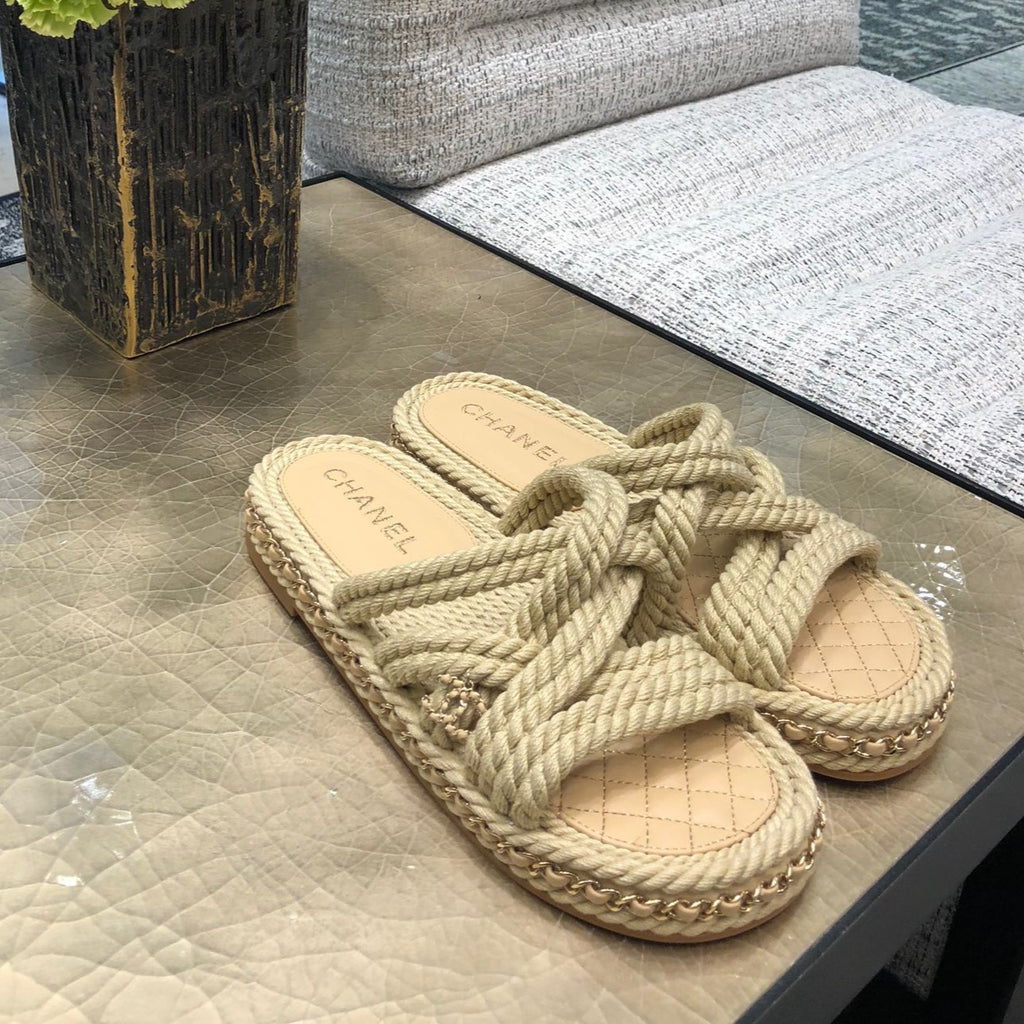 CHANEL beige cord mules Cruise 2021