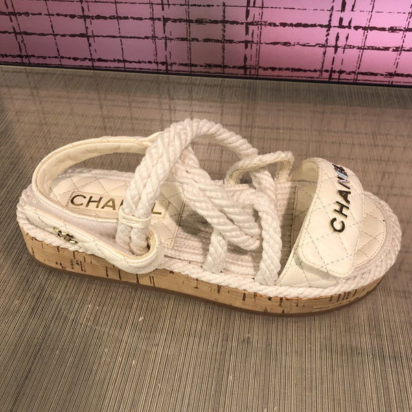 Chanel white leather & cord sandals rope sandals