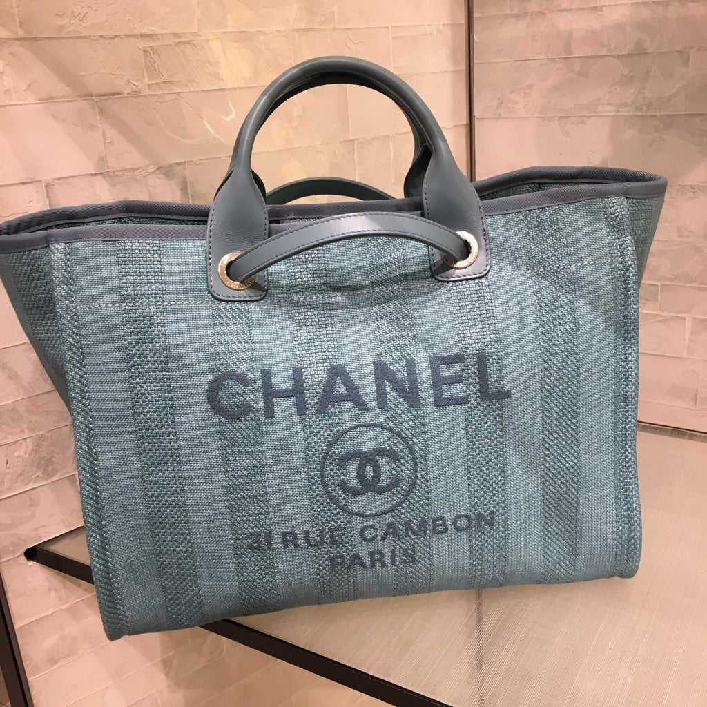 Chanel Deauville blue canvas tote