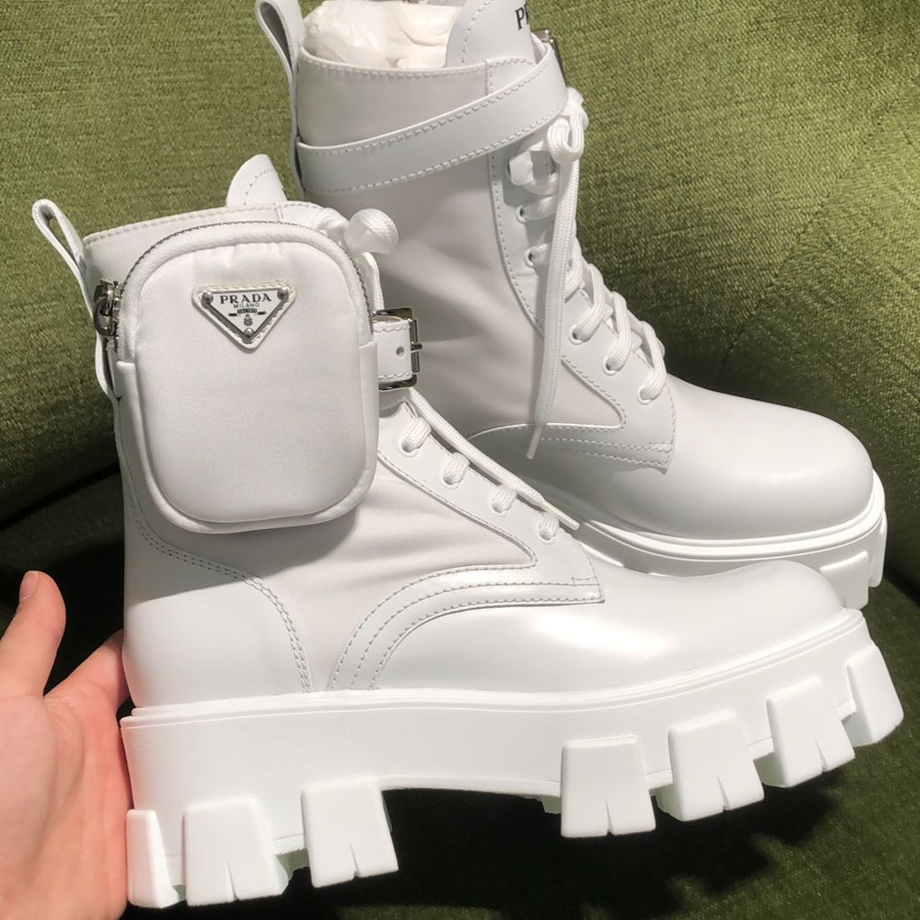 Prada Monolith white leather and nylon ankle boots