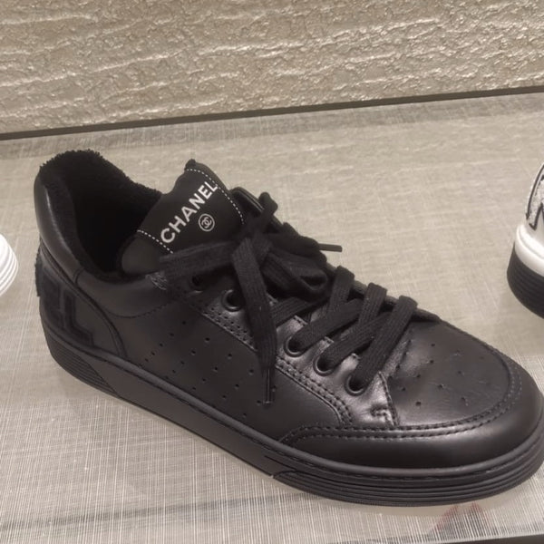 Chanel black leather trainers SS2020