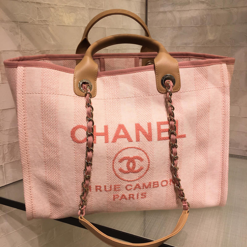 Chanel Deauville pink canvas tote