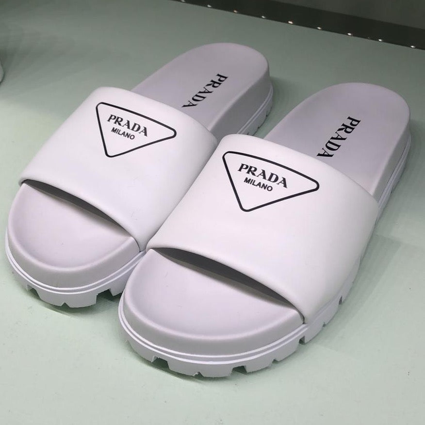 Prada white leather slides