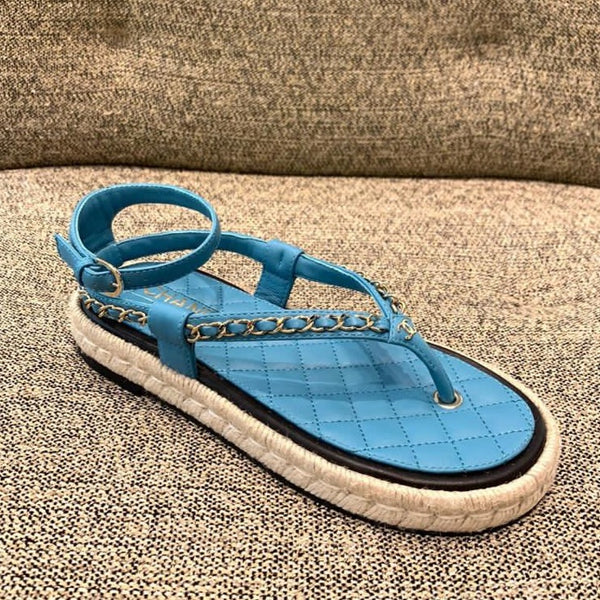 CHANEL blue leather sandals Cruise 2021
