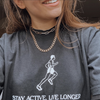 Sporty & Rich black 'Stay Active, Live Longer' t-shirt