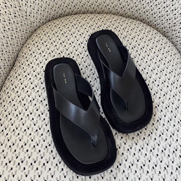 The Row black leather Ginza sandals