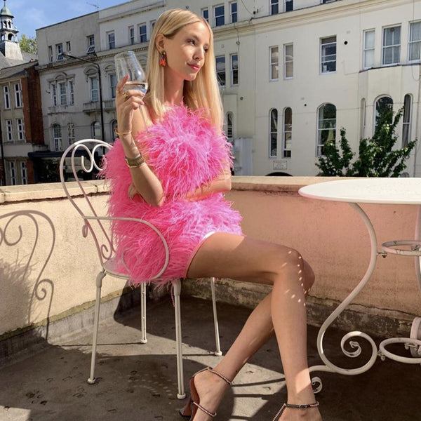 pink ostrich feather dress