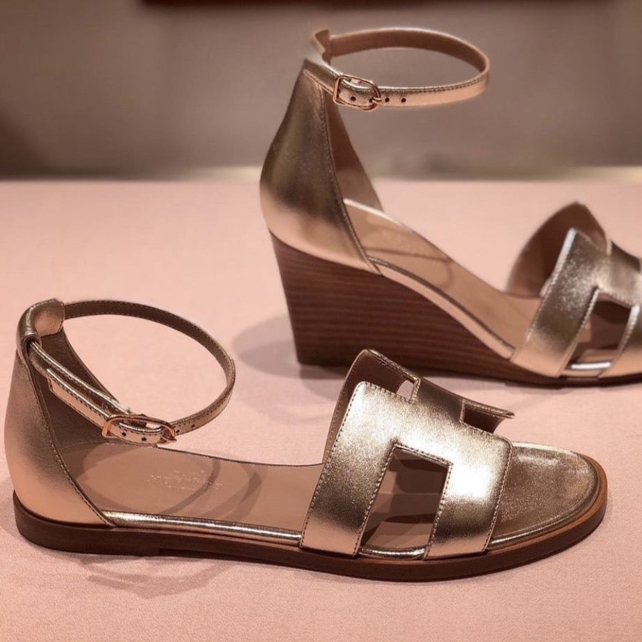 Hermes Santorini sandals Rose gold