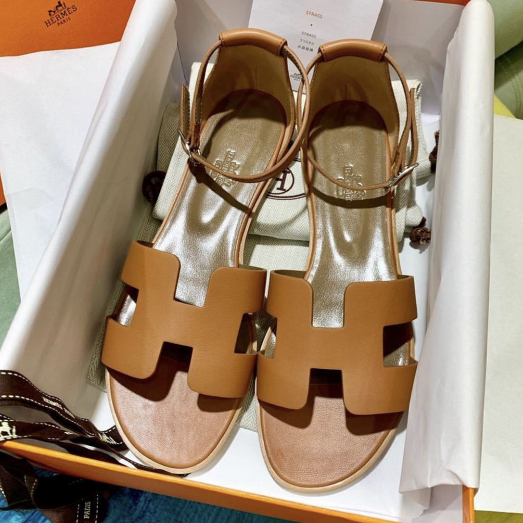 Hermes Santorini sandals Natural