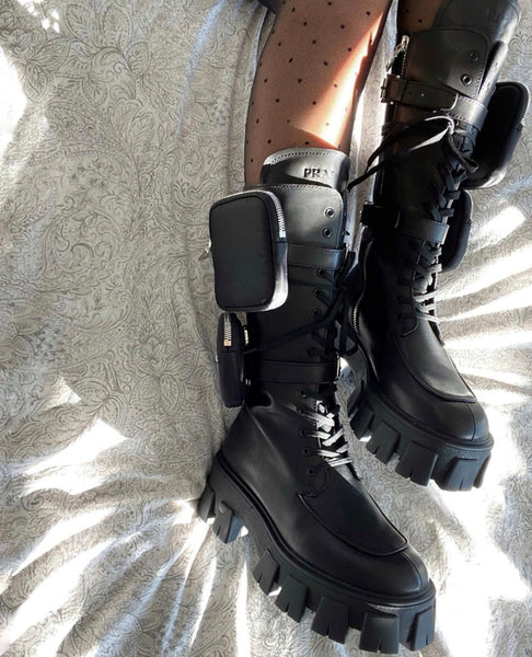 Prada Monolith high black leather boots