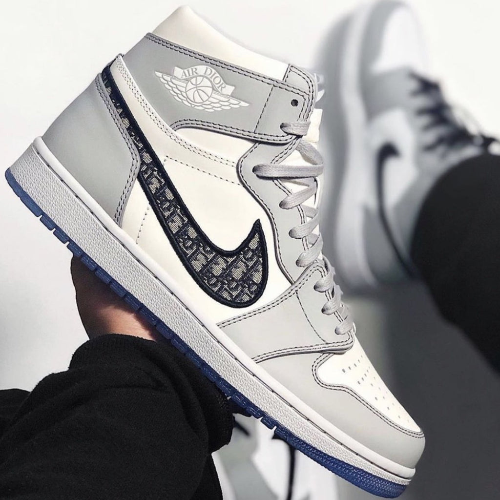 Dior x Air Jordan 1 High OG light grey trainers 2020