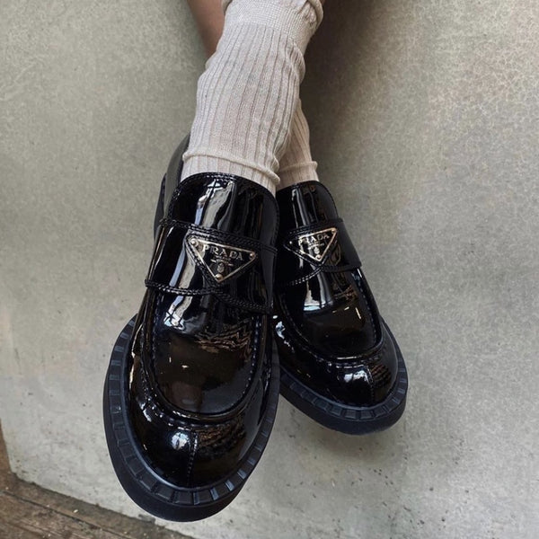 Prada FW2020 black patent leather loafers