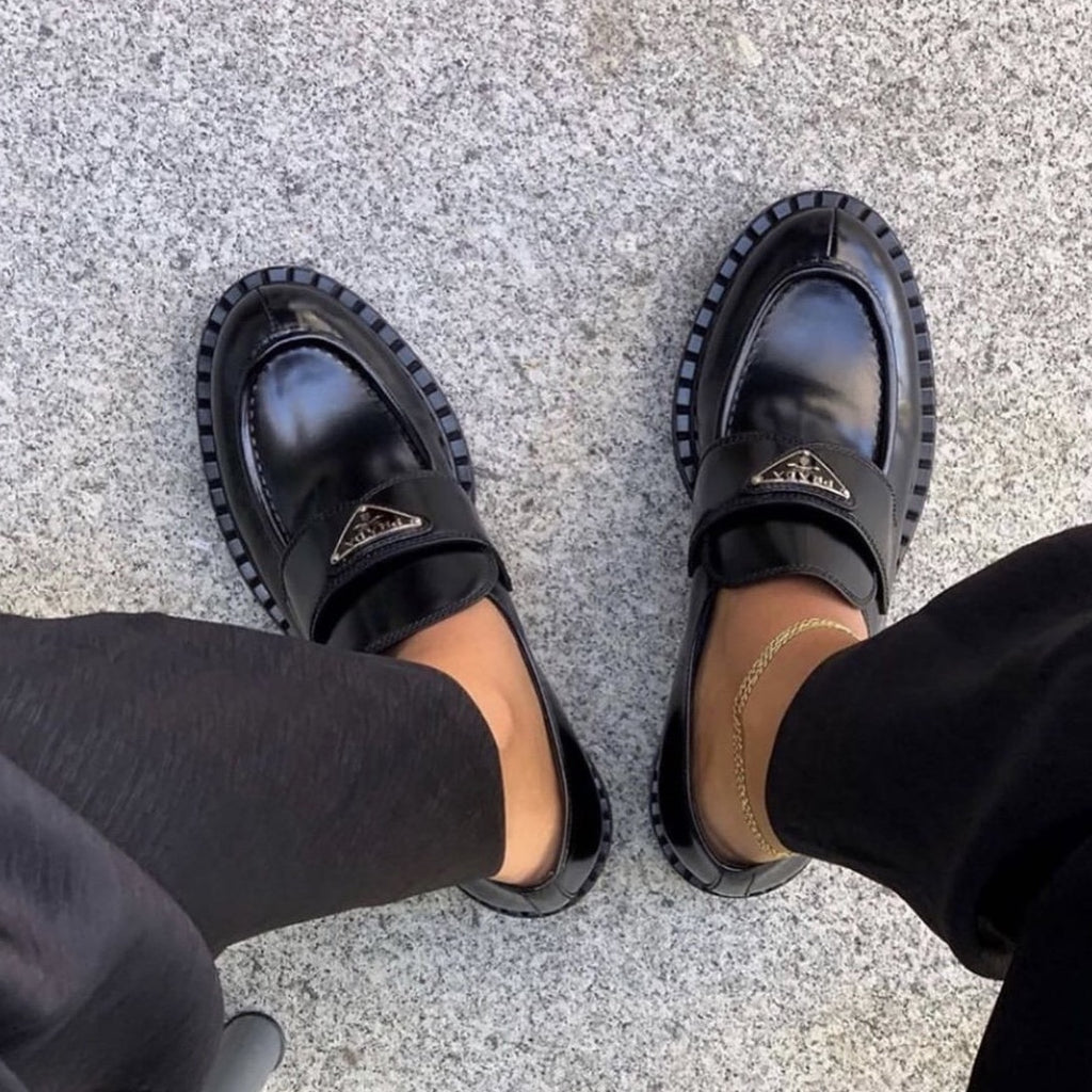 Prada FW2020 black brushed leather loafers