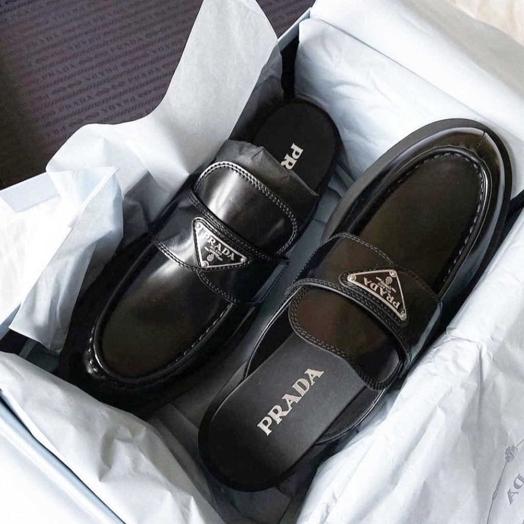 Prada black brushed leather mules