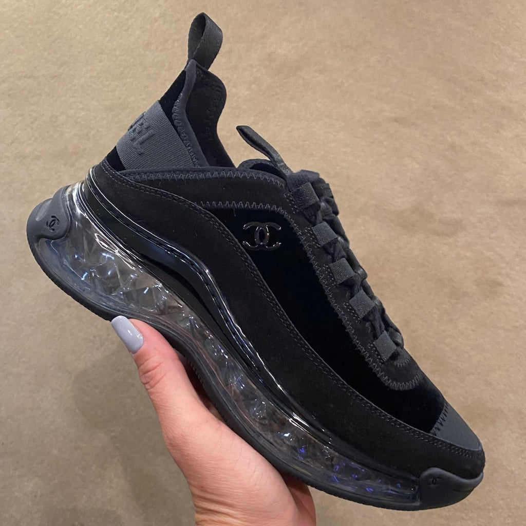 Chanel Pre-Fall 2020 black sport trail suede leather sneakers
