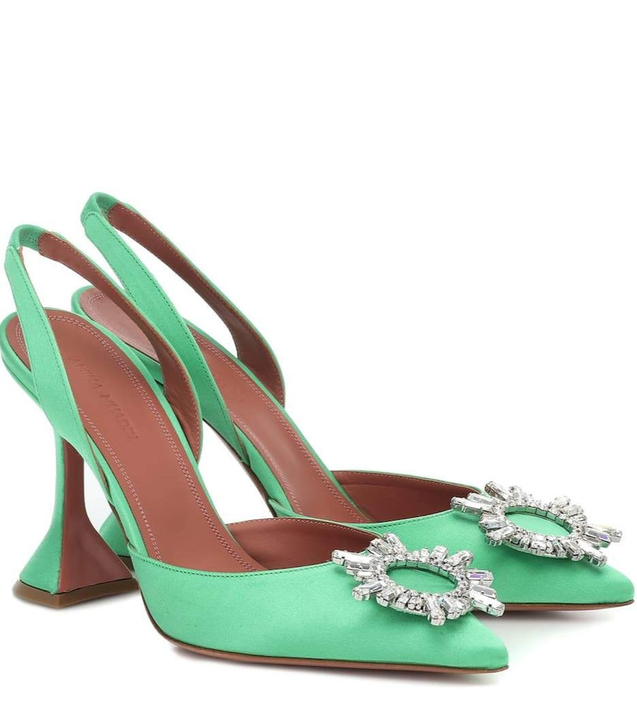 Amina Muaddi Begum green satin slingback pumps