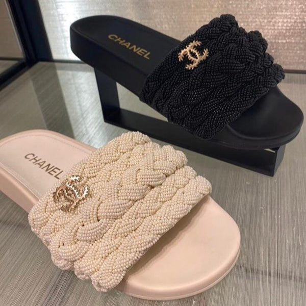 Chanel white pearls & leather mules SS2020