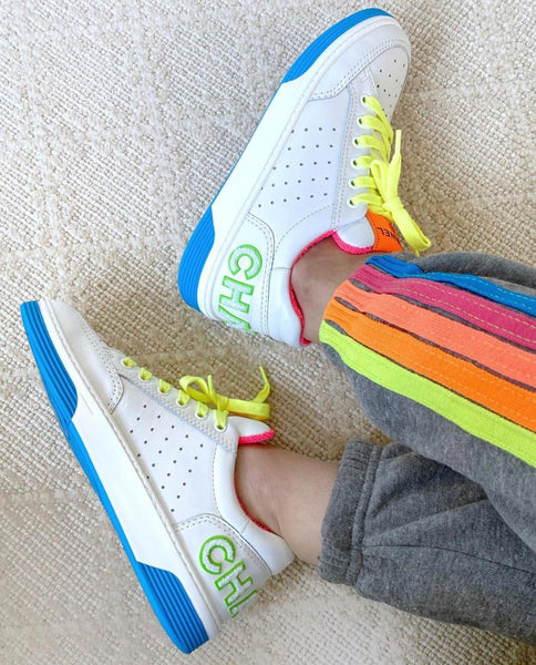 Chanel neon yellow laces trainers SS2020